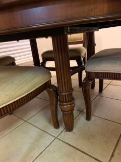 Solid wood table+leaf and 6 chairs