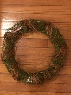 Grapevine wreath with moss