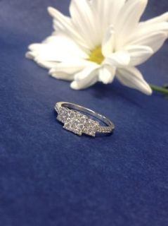 14k white gold past present and future .50ctw diamond engagement ring size 7