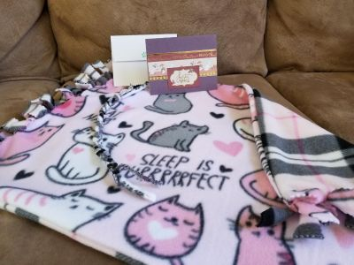 Kitty blanket/ bed liner with cat toy and card