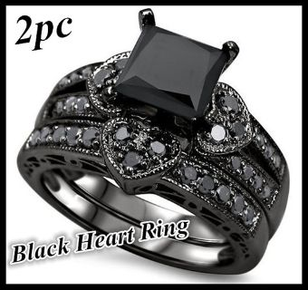 Size 9 Womens Princess Cut 2.6 Carat Black Onyx Diamond Heart Bridal, Engagement, Promise Ring, Valentine's Day, Wedding Two Ring Set NEW