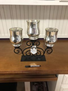 Nwt Silver Tone s mercury glass candle holder. Retail price was $24.99