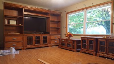 Solid Wood- Oak Entertainment Center, Coffee Table, and End Tables