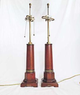 Pair Ralph Lauren Designer Wood Column Lamps