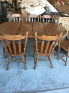 solid wood dinning table plus 6 chairs