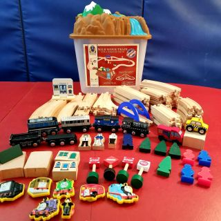 Wooden Train Set with Storage Container/Mountain Top Lid!