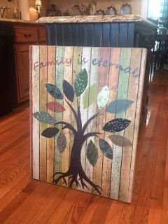 THIS IS HUGE ! Measures 28x22 FAMILY is ETERNAL it s trimmed out on the sides in Burlap . From Kirklands