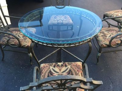 6 chairs, glass table, high end