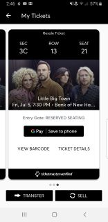 2 tix to Little Big Town