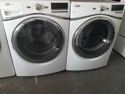Whirlpool duet nice set of front loads washer and steam dryer electric!!