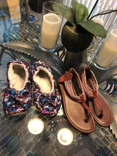 Sandals and sequins slippers size 3
