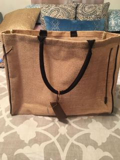 New with tags Chico s brand large burlap tote bag