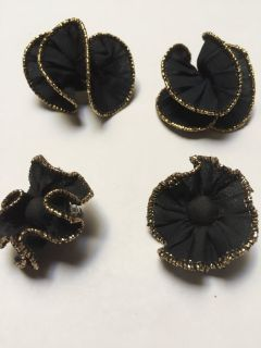 Black & Gold Fabric Pierced Earrings w/Matching Shoe Clip On