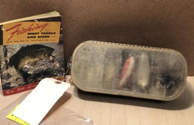 1949 dated Antique Vintage Fishing Tackle Book and Lure Box full of Tackle