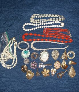 Lot of costume jewelry: JJ, Coro, Sarah Coventry. A few pieces missing stones & a broken necklace. MEET AT TARGET WEEKDAYS AFTER 40