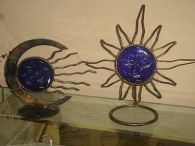 Vintage Antique votive celestial iron & cobalt blue glass SUN MOON STAR candle holders