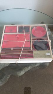 Red and Black Dining Set