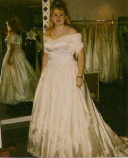 White Beautiful Wedding Dress by Demetnos-Never worn