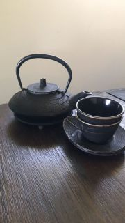 Japanese iron Tetsubin tea set