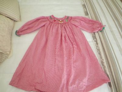 Girls Christmas Dress Size 4T, hand smocked
