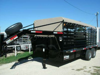 New W-W 16x6.8 Roust about Steel Livestock Trailer