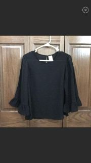 Black bell sleeves blouse size S