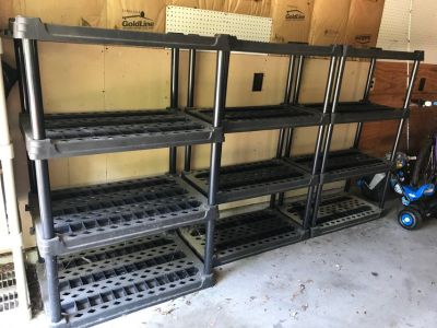 3 Plastic Vented/Free Standing Garage Shelving Units