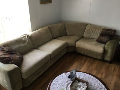 3 piece wrap around beige couch