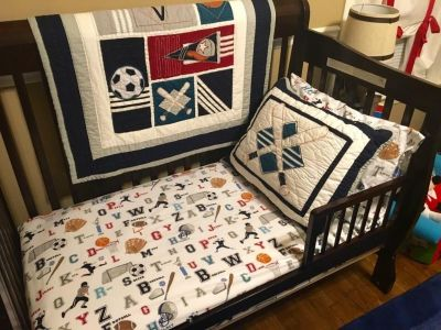Toddler Crib or Bed Quilt , Sham and Sheets