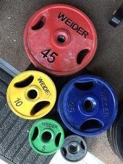 255lb rubber coated olympic Weights- Weider