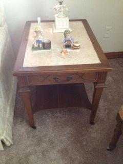 Antique side table mable inlay