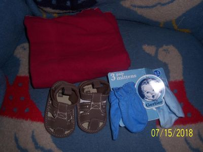 little red tiddlewinks blanket-2 pair of mittens and brown sandals