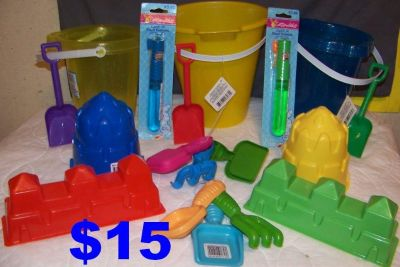 Beach & Sand Touts, 3 buckets, 4 Sand Castles, 9 Sand Tools, & 2 Bubble Wands. All Brand New