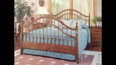 Queen solid oak complete bed frame