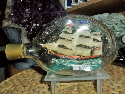 Exceptional and Beautiful Large Antique Vintage Ship in a Bottle