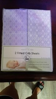 Purple crib sheets two in a package