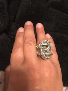 Silver and rhinestone knotted ring