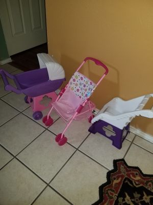 Baby Doll Strollers and High Chair Lot
