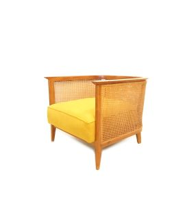 Vintage Modern Armchair In Mustard Tweed
