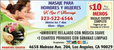 Hola, Massage $10 off, Melrose & Normandie, open until 10 PMh