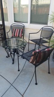 Metal patio table and chairs (3 chairs)