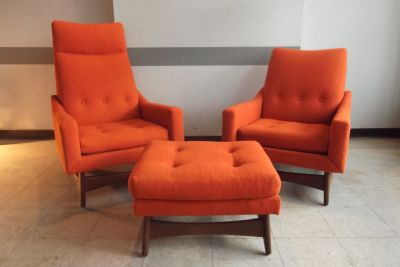 Pair of Mid Century Lounge Chairs and Ottoman