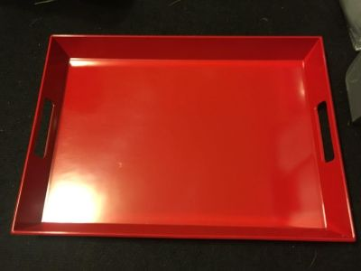 Brand new red serving tray.
