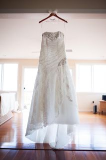 Size 10 - 12 wedding dress gown - Ivory lace overlay corset back