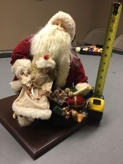 Santa decoration on stained wood