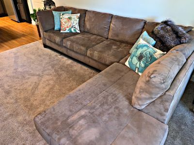 Like new suede family sectional couch sofa