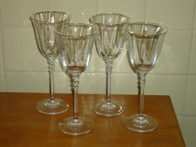 4 gold rim crystal glasses