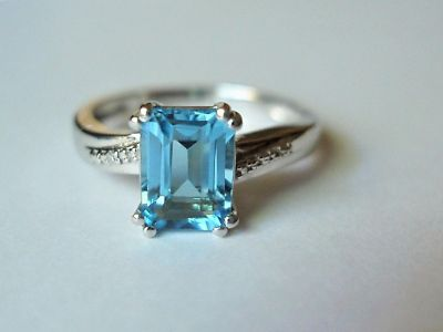 Sterling Silver Natural Blue Topaz and Diamond Accent Ring