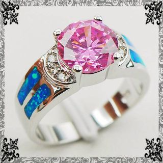 NEW - Vibrant Pink Sapphire and Blue Fire Opal Ring - Sizes 6 and 7