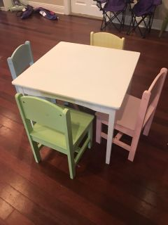 Nantucket Kids kraft pastel colors table and 4 chairs cross posted flash sale